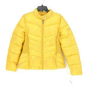 Nautica Yellow Reversible Hooded Packable Puffer S